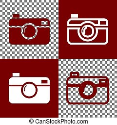 Digital photo camera sign. Vector. Bordo and white icons and...