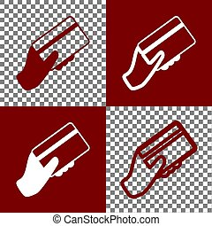 Hand holding a credit card. Vector. Bordo and white icons and line icons on chess board with transparent background.
