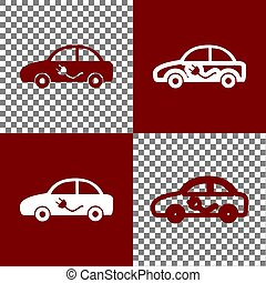 Electric car sign. Vector. Bordo and white icons and line...