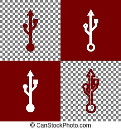 USB sign illustration. Vector. Bordo and white icons and...