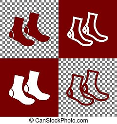 Socks sign. Vector. Bordo and white icons and line icons on...