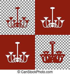 Chandelier simple sign. Vector. Bordo and white icons and...