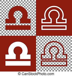 Libra sign illustration. Vector. Bordo and white icons and...