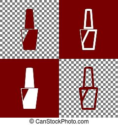 Nail polish sign. Vector. Bordo and white icons and line...