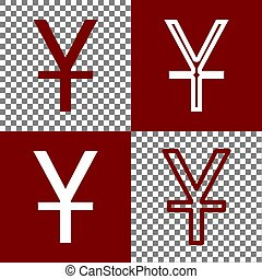 Chinese Yuan sign. Vector. Bordo and white icons and line...