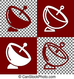 Satellite dish sign. Vector. Bordo and white icons and line...
