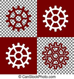 Gear sign. Vector. Bordo and white icons and line icons on...