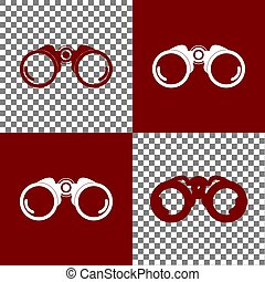 Binocular sign illustration. Vector. Bordo and white icons...