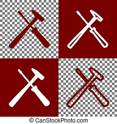 Tools sign illustration. Vector. Bordo and white icons and...