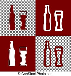 Beer bottle sign. Vector. Bordo and white icons and line...