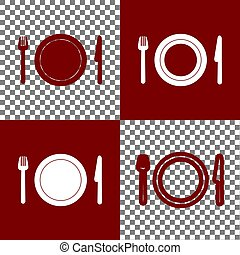 Fork, plate and knife. Vector. Bordo and white icons and...