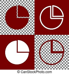 Business graph sign. Vector. Bordo and white icons and line...