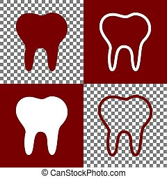Tooth sign illustration. Vector. Bordo and white icons and...