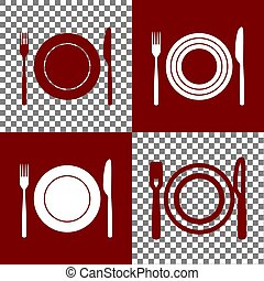 Fork, Knife and Plate sign. Vector. Bordo and white icons...