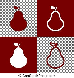 Pear sign illustration. Vector. Bordo and white icons and...