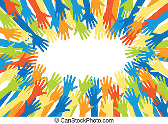 colorful hands, vector - colorful hand silhouettes, vector...