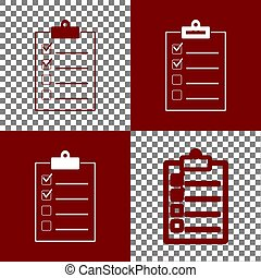 Checklist sign illustration. Vector. Bordo and white icons...