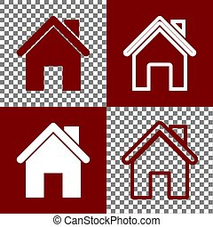Home silhouette illustration. Vector. Bordo and white icons...