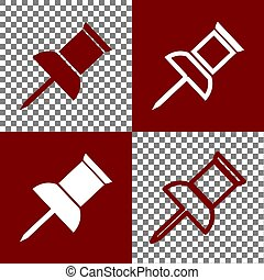 Pin push sign. Vector. Bordo and white icons and line icons...