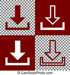 Download sign illustration. Vector. Bordo and white icons...
