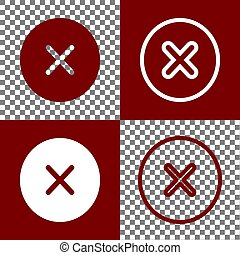 Cross sign illustration. Vector. Bordo and white icons and...