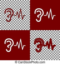 Ear hearing sound sign. Vector. Bordo and white icons and...