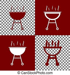 Barbecue simple sign. Vector. Bordo and white icons and line...