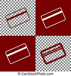 Credit card symbol for download. Vector. Bordo and white icons and line icons on chess board with transparent background.