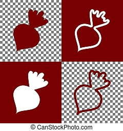 Beet simple sign. Vector. Bordo and white icons and line icons on chess board with transparent background.