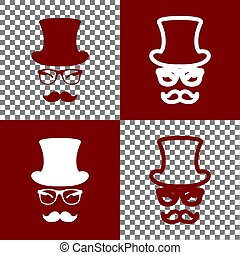 Hipster accessories design. Vector. Bordo and white icons...