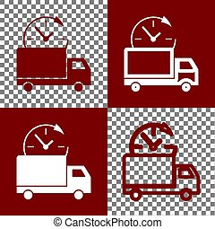 Delivery sign illustration. Vector. Bordo and white icons...