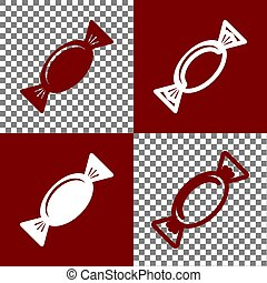 Candy sign illustration. Vector. Bordo and white icons and...