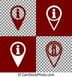 Map pointer with information sign. Vector. Bordo and white...