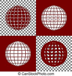 Earth Globe sign. Vector. Bordo and white icons and line...