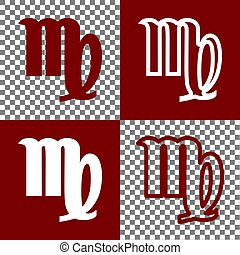 Virgo sign illustration. Vector. Bordo and white icons and...