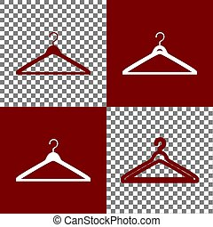 Hanger sign illustration. Vector. Bordo and white icons and...