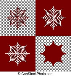 Spider on web illustration. Vector. Bordo and white icons...
