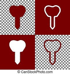 Tooth implant sign illustration. Vector. Bordo and white...