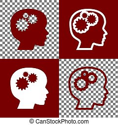 Thinking head sign. Vector. Bordo and white icons and line...