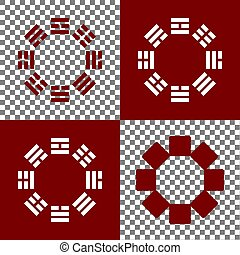 Bagua sign. Vector. Bordo and white icons and line icons on...