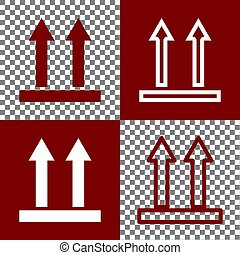 Logistic sign of arrows. Vector. Bordo and white icons and...