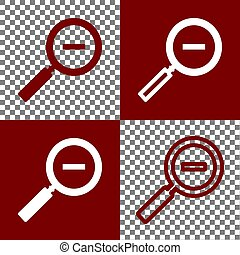 Zoom sign illustration. Vector. Bordo and white icons and...