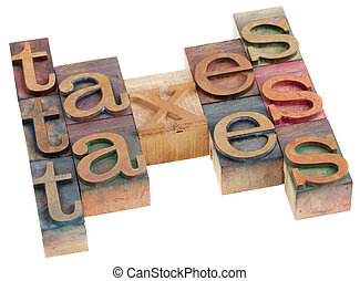 taxes word abstract