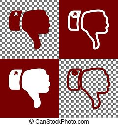 Hand sign illustration. Vector. Bordo and white icons and...