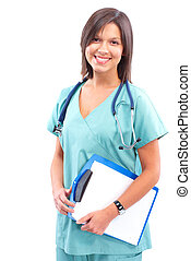 Medical doctor - Smiling medical doctor with stethoscope....