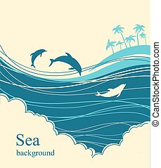 Dolphins in blue sea wave.Seascape illustration horizon