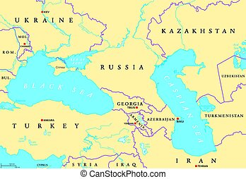 Black Sea and Caspian Sea political map - Black Sea and...