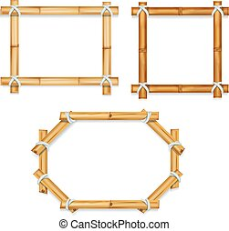 Wooden realistic bamboo frames vector illustration