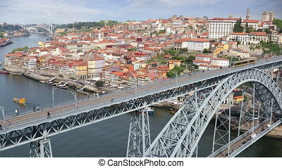 Porto city view with Douro river - Video shot of central...