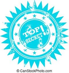 Blue grunge top secret stamp.